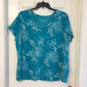 Ava and Viv green /teal floral top , 2X